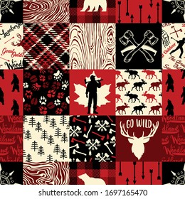 Wildlife wood plaid and Lumberjack symbols and silhouettes collection abstract vector seamless pattern