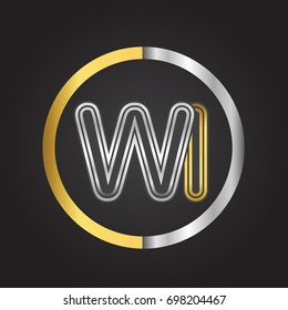 WILetter logo in a circle. gold and silver colored. Vector design template elements for your business or company identity.