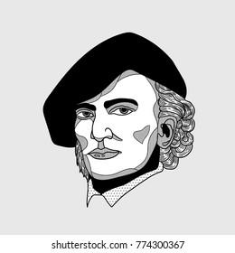 Wilhelm Richard Wagner. Vector illustration hand drawn.