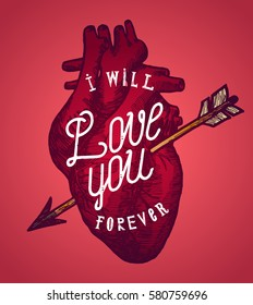 i will love you forever - real human heart valentines label