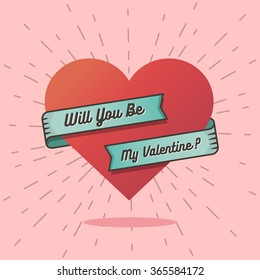Will you be my valentine text with a big heart background in retro vintage style.