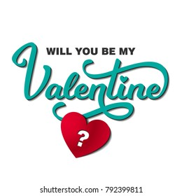 Will You Be My Valentine Card with Text and Hearts. Vector Illustration. Modern Paper Cut Decorative Design. Greeting  Party InvitationCard.