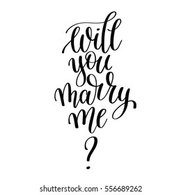 will you marry me black and white hand written lettering phrase about love to valentines day design poster, greeting card, photo album, banner, calligraphy text vector illustration