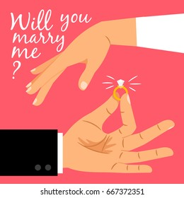 Will you marry me poster. Marriage proposal vector illustration with wedding ring and male and female hands