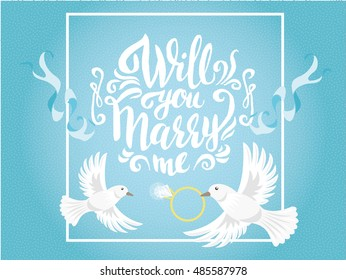Will you Marry me romantic poster with doves in sky