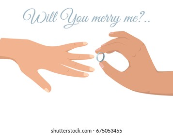 Will you marry me sign on white background and mans hand with platinum wedding ring puts it on womans vector illustration.