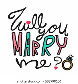Will you marry me word and ring illustration on white background