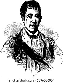 William Barton 1748–1831 he was an officer in the continental army during American revolutionary war who retired with the rank of colonel vintage line drawing or engraving illustration
