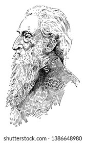 William Booth, 1829-1912, he was a British Methodist preacher, founder of the salvation army, first general of the salvation army, vintage line drawing or engraving illustration