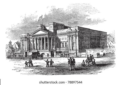 William Brown Library and Museum or World Museum Liverpool in England, during the 1890s, vintage engraving. Trousset encyclopedia (1886 - 1891)
