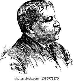 William Dean Howells 1837 to 1920 he was an American realist novelist literary critic and playwright vintage line drawing or engraving illustration