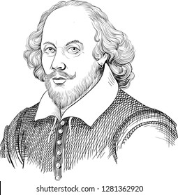 William Shakespeare (1564-1616) portrait in line art illustration. He was English poet, playwright and actor, regarded as the greatest author in English literature and the world's greatest dramatist.
