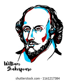 William Shakespeare engraved vector portrait with ink contours. English poet, playwright and actor, the greatest writer in the English language and the world's pre-eminent dramatist.