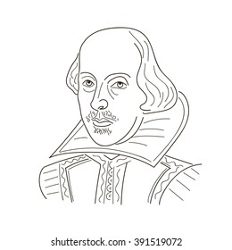 William Shakespeare. Sketch illustration. Black and white. Vector.