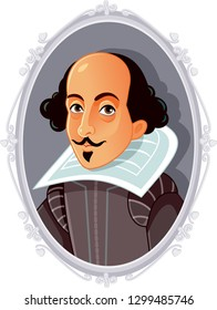 William Shakespeare Vector Caricature. Portrait of famous English writer and author