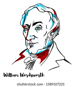 William Wordsworth engraved vector portrait with ink contours.English Romantic poet who helped to launch the Romantic Age in English literature.