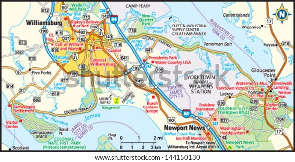 Williamsburg Virginia Area Map Stock Vector Royalty Free 144150130