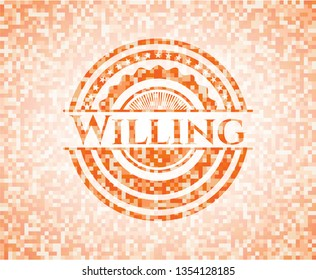 Willing abstract orange mosaic emblem with background