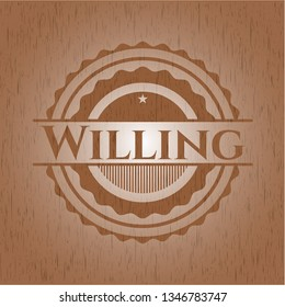 Willing badge with wood background