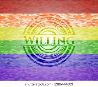 Willing emblem on mosaic background with the colors of the LGBT flag