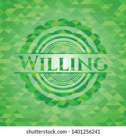 Willing green mosaic emblem. Vector Illustration. Detailed.