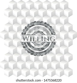 Willing grey badge with geometric cube white background