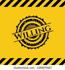 Willing grunge warning sign emblem. Vector Illustration. Detailed.