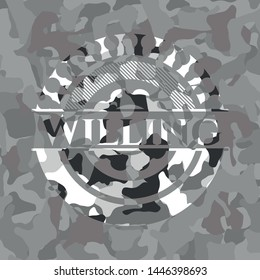 Willing on grey camouflage pattern