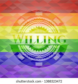 Willing on mosaic background with the colors of the LGBT flag