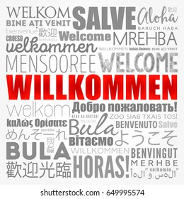 Willkommen, Welcome in German, word cloud in different languages, conceptual background
