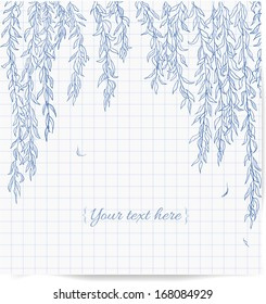 Willow branches hand-drawn on squared paper. Vector illustration.