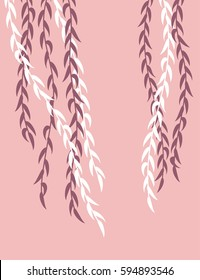 Willow branches on a pink background. Vector illustration.