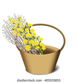 Willow and flowers in basket
