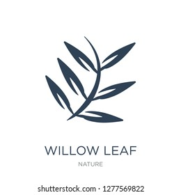 willow leaf icon vector on white background, willow leaf trendy filled icons from Nature collection, willow leaf vector illustration