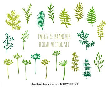 Willow and palm tree branches, fern twigs, lichen moss, mistletoe and spring grass herbs, dandelion flower vector illustrations set. Simple branches, twigs floral green collection isolated on white.