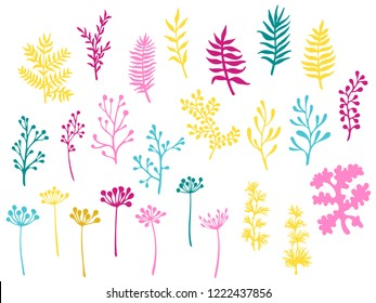 Willow and palm tree branches, fern twigs, lichen moss, mistletoe, savory grass herbs, dandelion flower vector illustrations set. Pink cyan yellow branches, twigs floral collection isolated on white