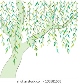 Willow tree. Graphic design. Vector background