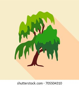Willow tree icon. Flat illustration of willow tree vector icon for web