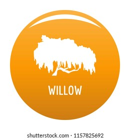 Willow tree icon. Simple illustration of willow tree vector icon for any design orange