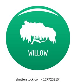 Willow tree icon. Simple illustration of willow tree vector icon for any design green