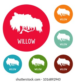 Willow tree icons circle set vector isolated on white background