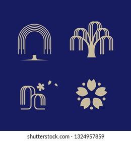 willow (tree) logo set