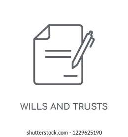 wills and trusts linear icon. Modern outline wills and trusts logo concept on white background from law and justice collection. Suitable for use on web apps, mobile apps and print media.