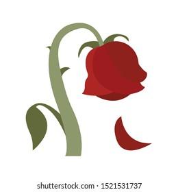 Wilted dying rose vector emoji illustration