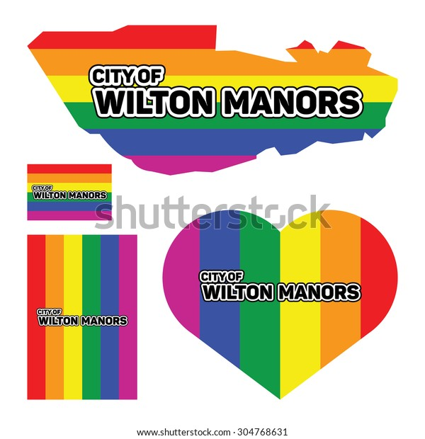 Wilton Manors Map Pride Stock Vector (Royalty Free) 304768631 on city street map of wilton, city of wilton manors employment, wilton manors florida map,