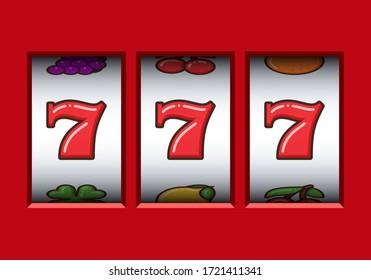 Win 777 jackpot in a red slot machine. Jackpot triple seven. Lucky seven. Casino vegas game. Slot machine game prize.