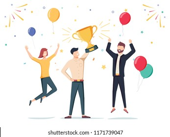 Win achievement. Happy company employee awarding a trophy prize to their leader. Business vector illustration. Business company party advertising with corporate members. Office manager staff teamwork