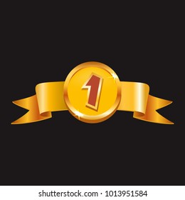 Win Badge - Gold Ribbon - Mobile Game Graphic Assets