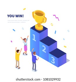 Win concept with characters. Can use for web banner, infographics, hero images. Flat isometric vector illustration isolated on white background.