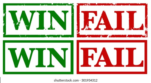 Win and Fail rubber stamps vector
